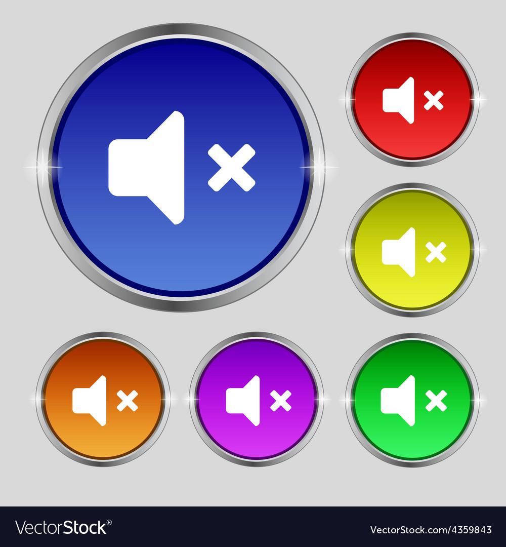 Mute speaker sound icon sign round symbol on vector | Price: 1 Credit (USD $1)