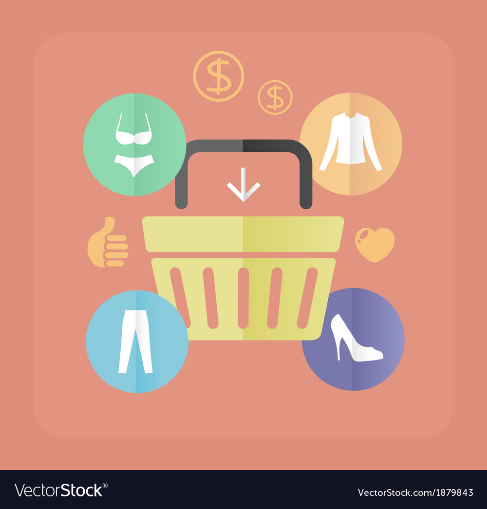 Shopping bags and clothes flat concept vector | Price: 1 Credit (USD $1)