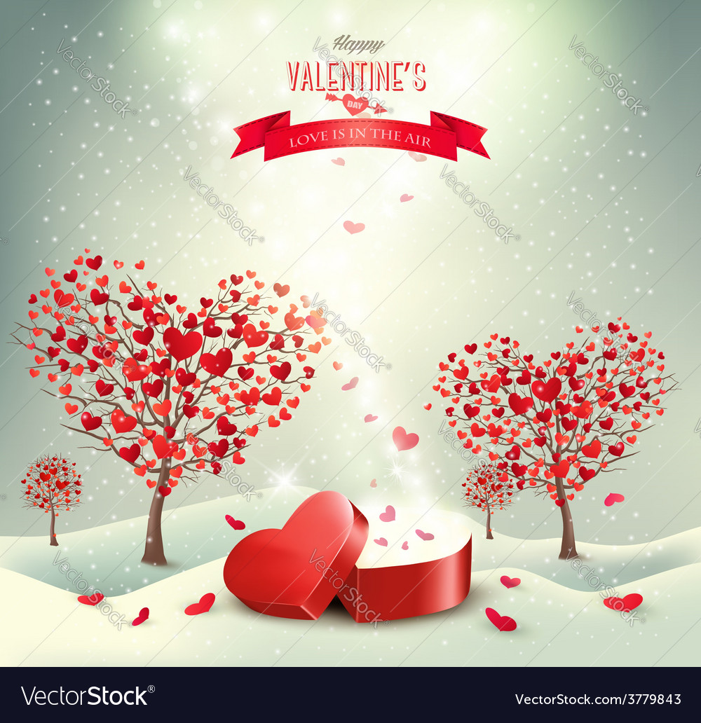 Valentine background with heart shaped trees vector | Price: 3 Credit (USD $3)