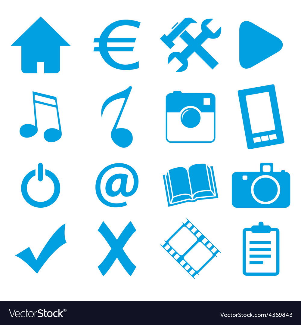 Webdesign blue icons set vector | Price: 1 Credit (USD $1)
