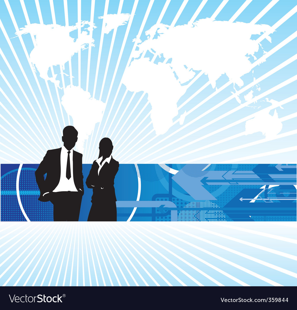 Business people world background vector | Price: 1 Credit (USD $1)