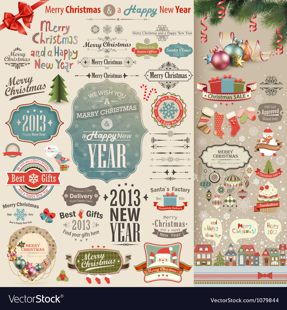 Christmas vintage scrapbook vector | Price: 3 Credit (USD $3)