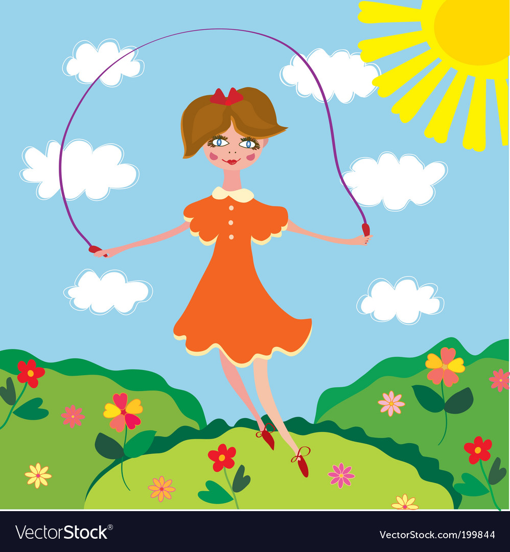 Cute girl jumping vector | Price: 1 Credit (USD $1)