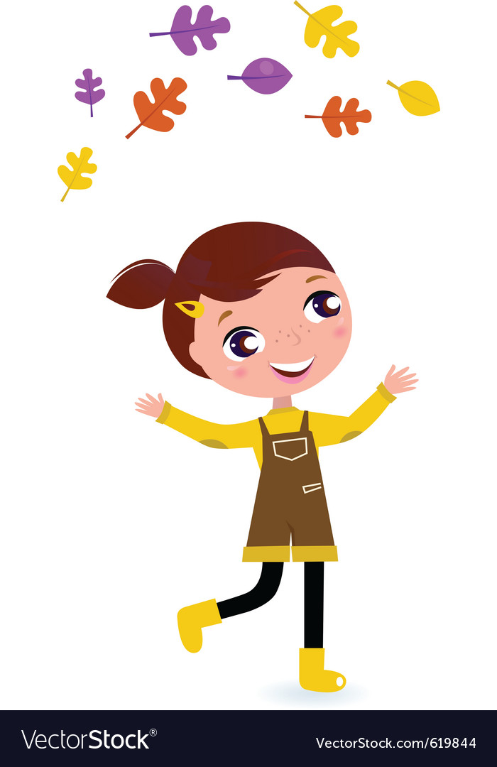 Cute little autumn girl isolated on white vector | Price: 1 Credit (USD $1)