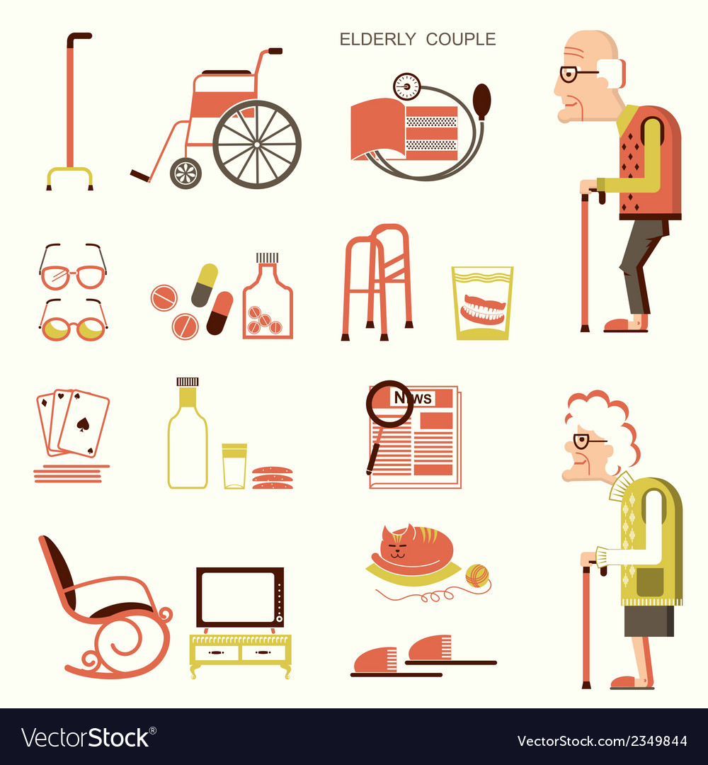 Elderly people and objects for life vector | Price: 1 Credit (USD $1)
