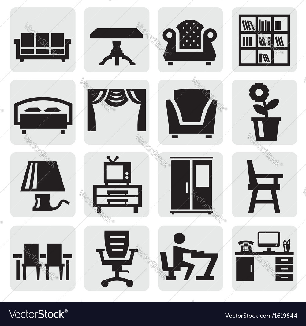 Furniture and home icons vector | Price: 1 Credit (USD $1)