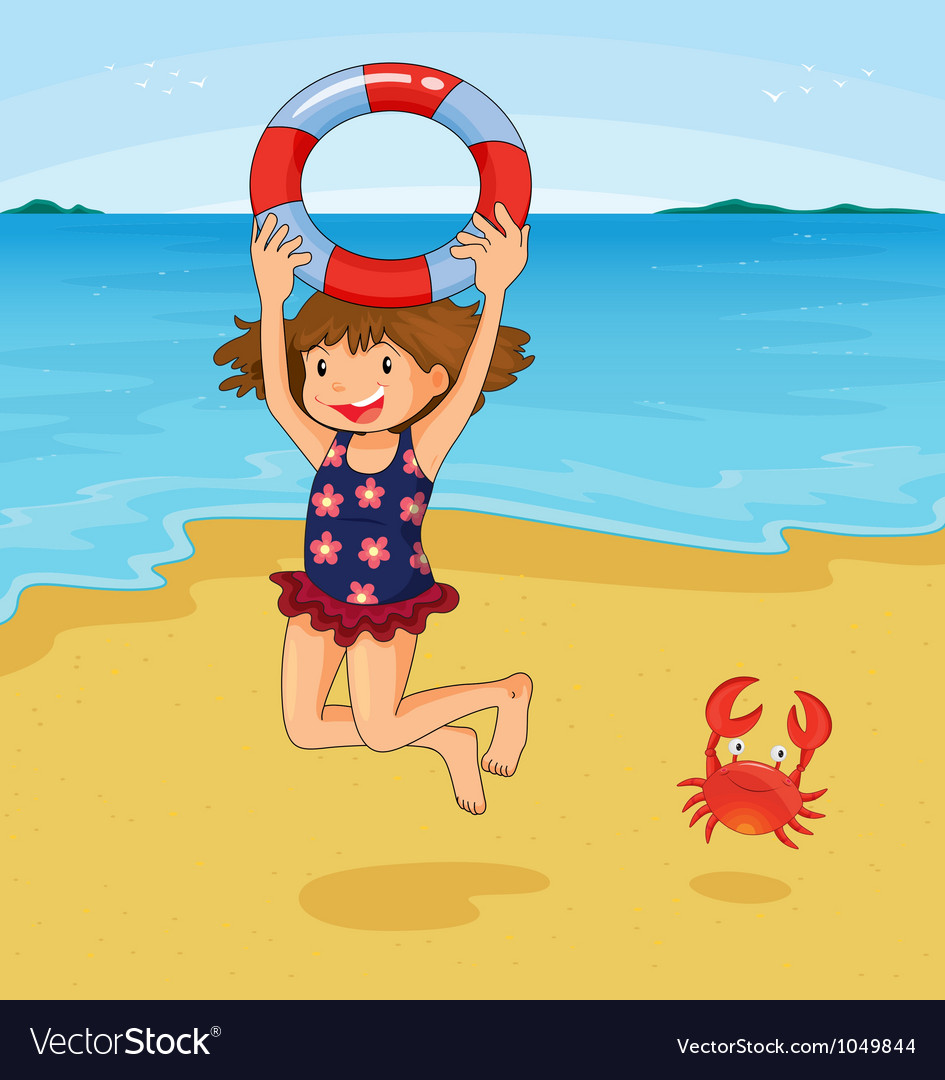 Girl at beach vector | Price: 3 Credit (USD $3)