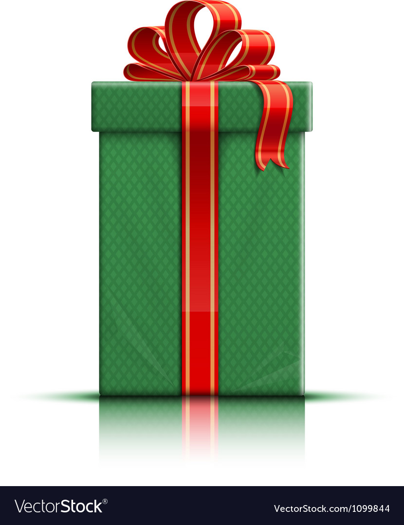 Green gift box with red silk ribbon and bow vector   Price: 1 Credit (USD $1)