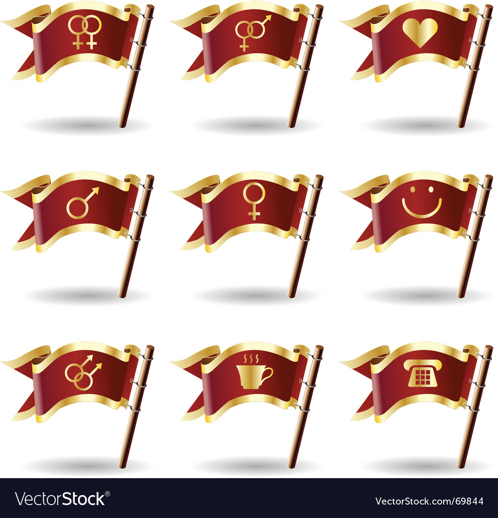 Relationship icons on flags vector | Price: 1 Credit (USD $1)