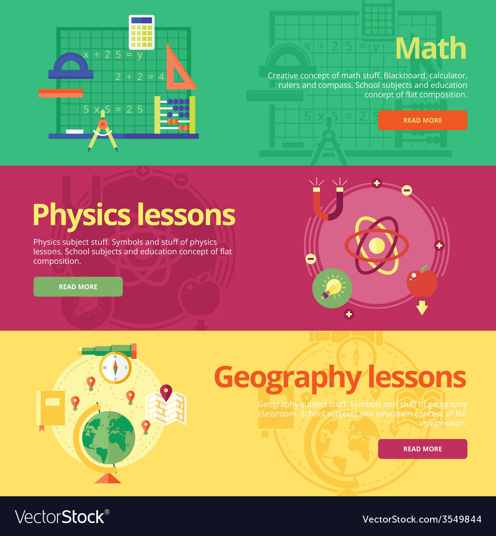Set of flat design concepts for math physics vector | Price: 1 Credit (USD $1)
