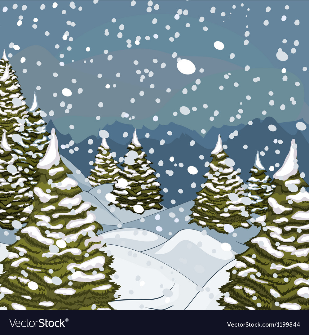 Winter landscape with snow and fir-trees vector | Price: 1 Credit (USD $1)