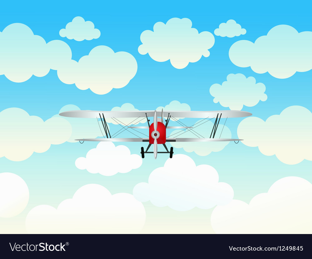 Aeroplane in the blue sky vector | Price: 1 Credit (USD $1)