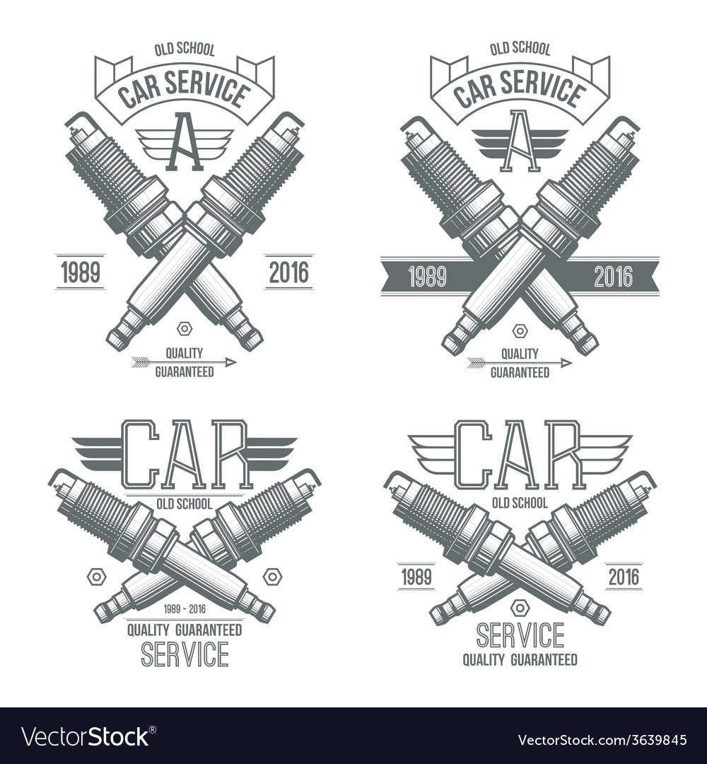 Car service spark plug emblems vector | Price: 3 Credit (USD $3)