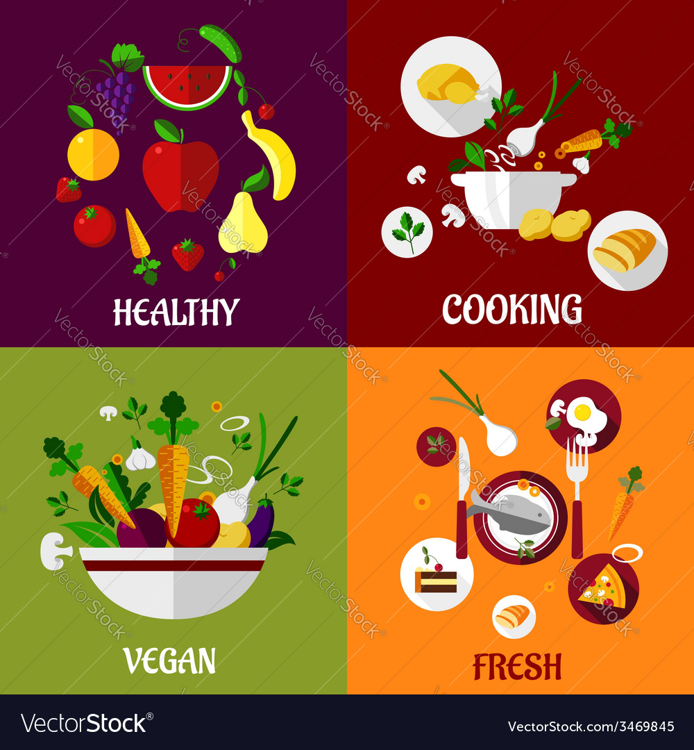 Colored fresh healty food flat design vector | Price: 1 Credit (USD $1)
