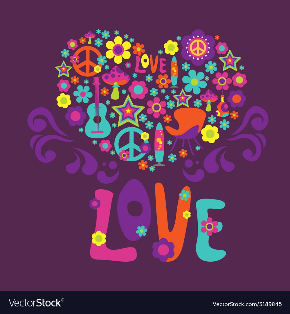 Composition with floral heart love psychedelic vector | Price: 1 Credit (USD $1)