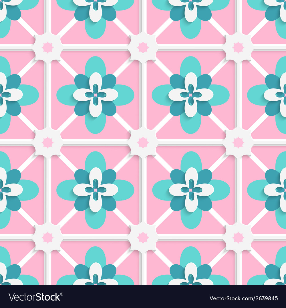 Floristic green and pink tile ornament vector | Price: 1 Credit (USD $1)
