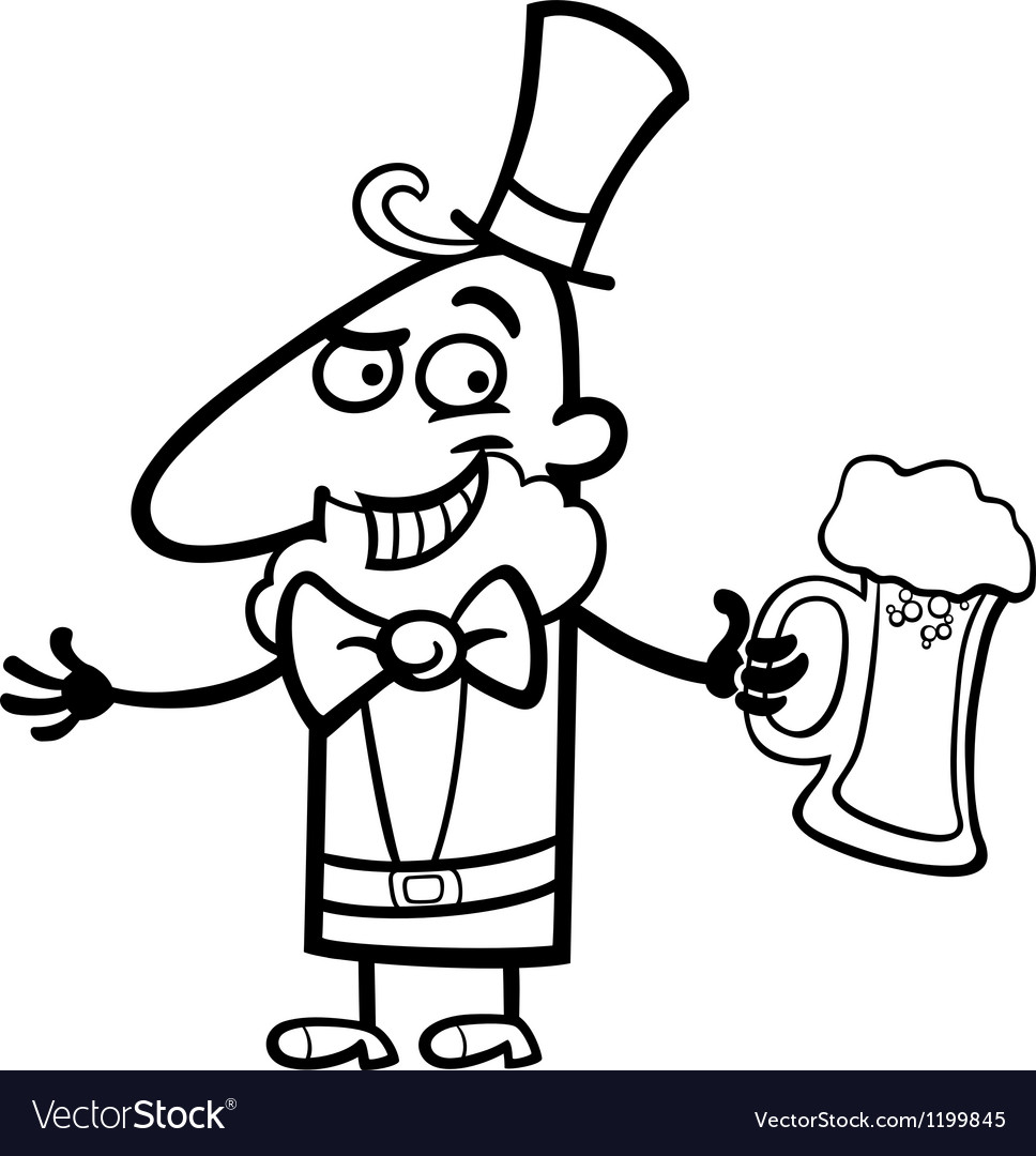 Leprechaun with beer cartoon for coloring vector | Price: 1 Credit (USD $1)