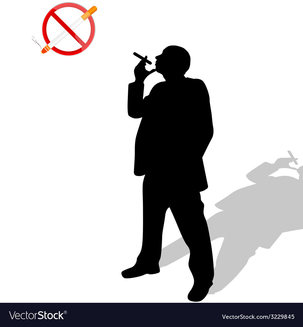Man looks at the no smoking sign vector | Price: 1 Credit (USD $1)