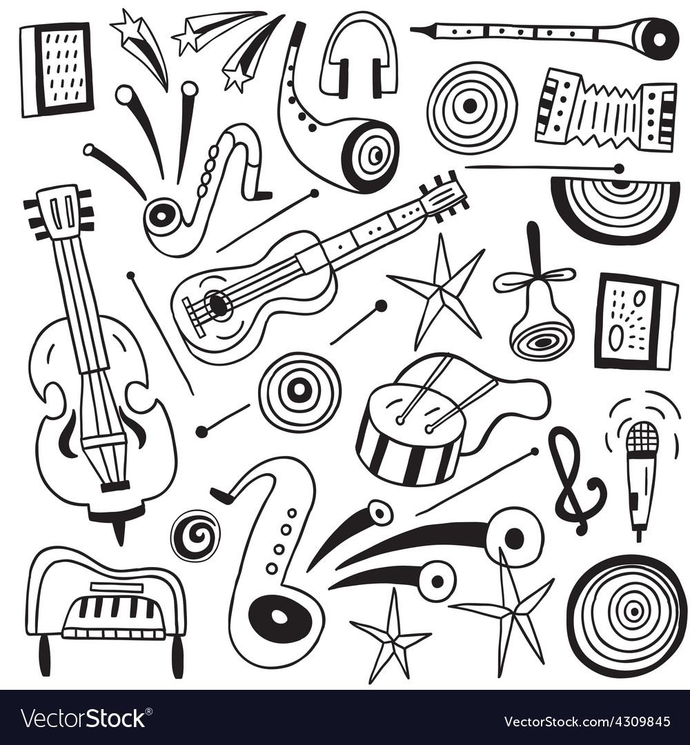 Music instruments doodles vector | Price: 1 Credit (USD $1)