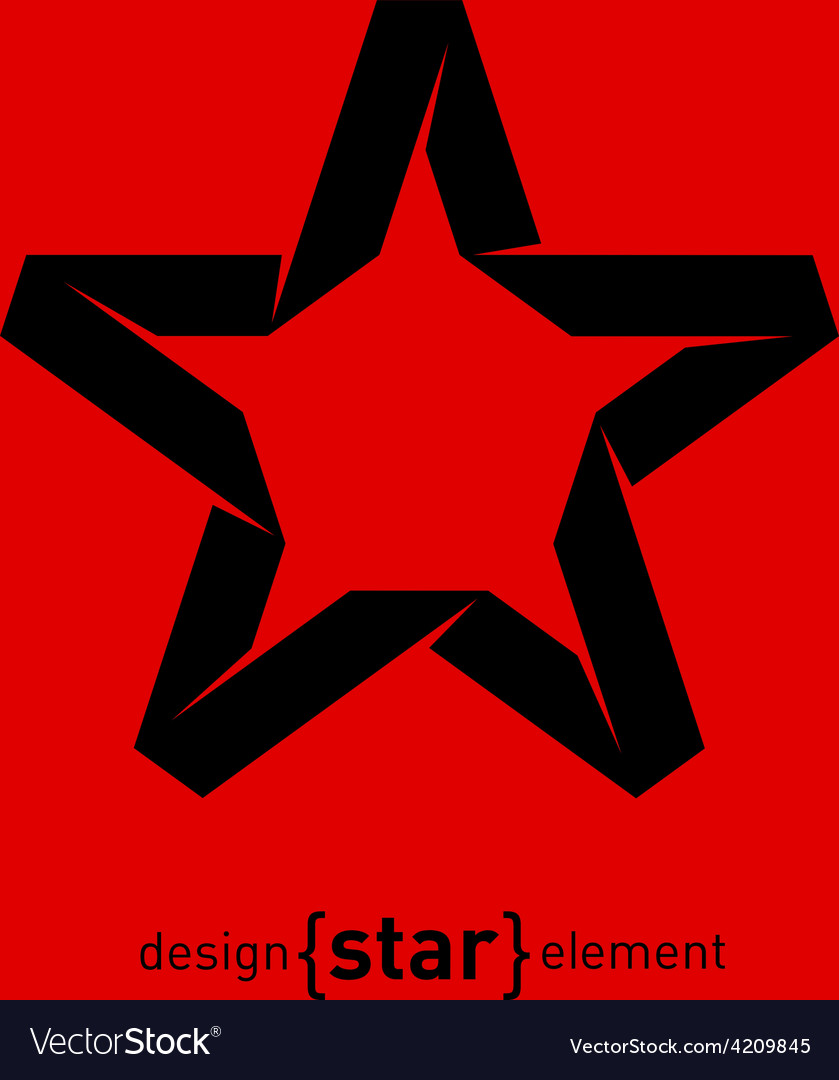One color imitation of origami star from paper vector | Price: 1 Credit (USD $1)