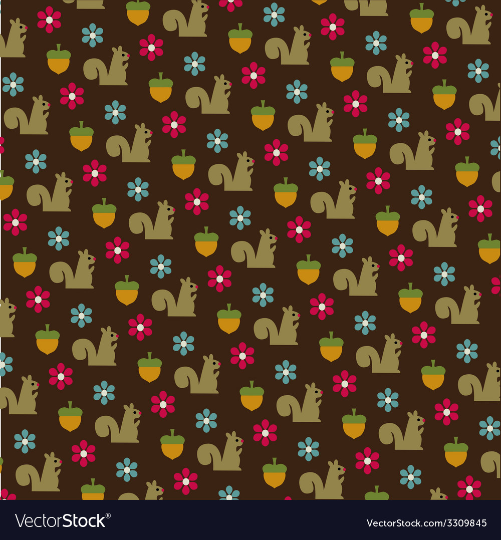 Squirrels and acorns pattern vector | Price: 1 Credit (USD $1)