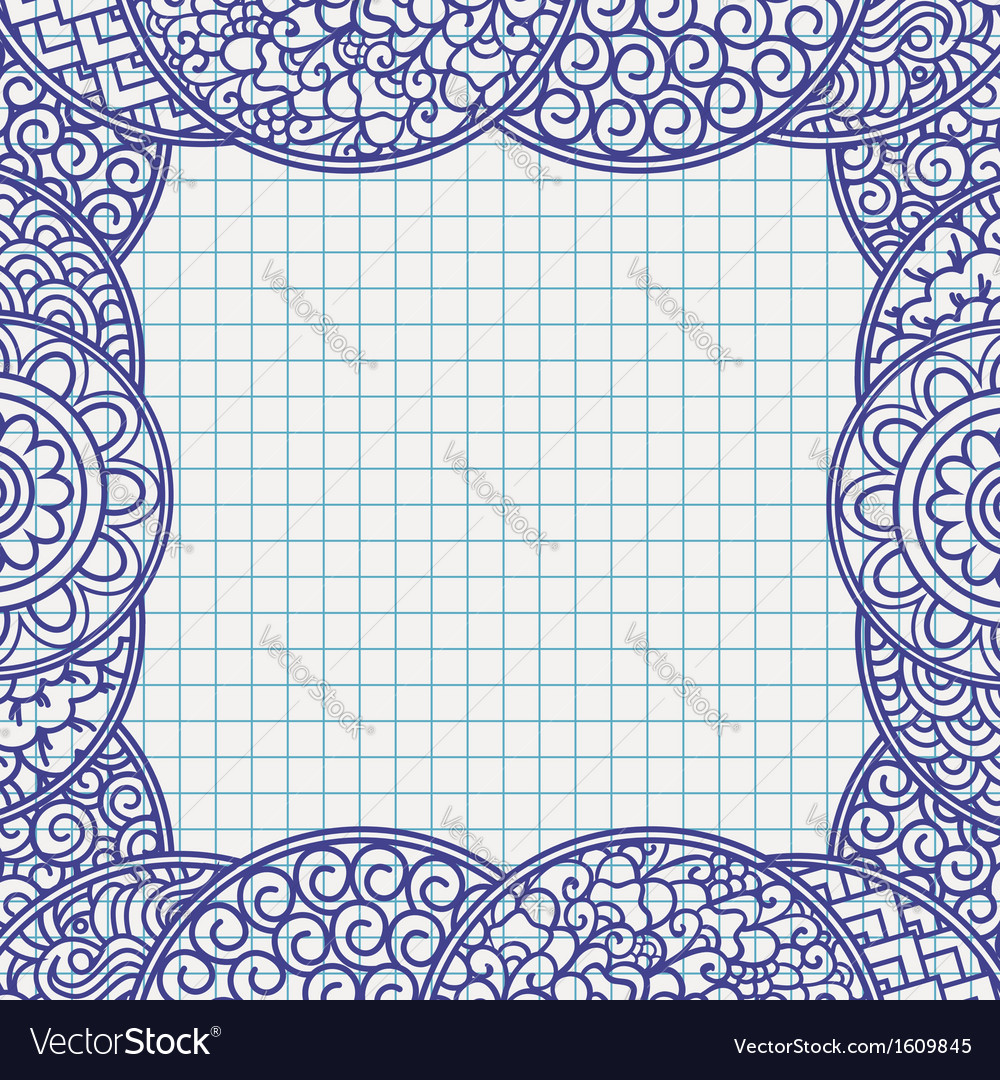 Traditional asian floral frame vector | Price: 1 Credit (USD $1)