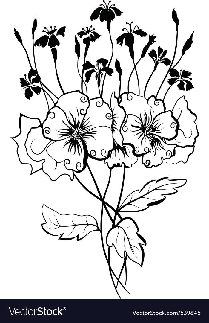 Viola bouquet vector | Price: 1 Credit (USD $1)
