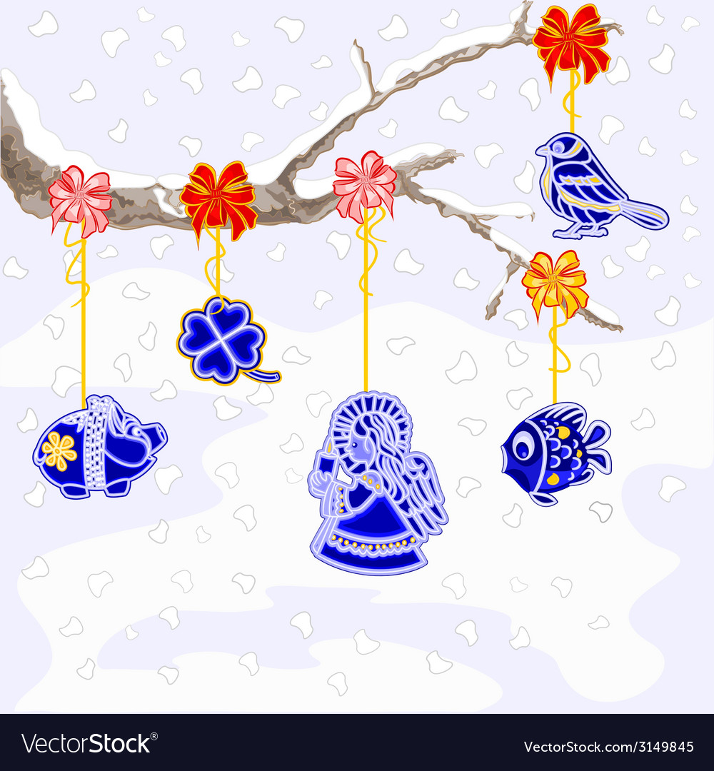 Winter branch with christmas trimmings faience vector | Price: 1 Credit (USD $1)