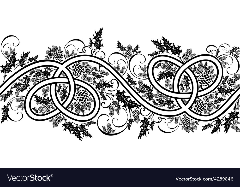 Border with celtic ornament and flowers thistle vector | Price: 1 Credit (USD $1)
