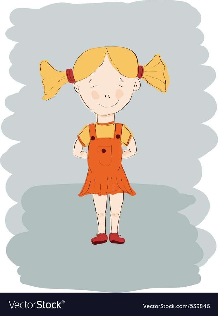 Child girl sketch vector | Price: 1 Credit (USD $1)