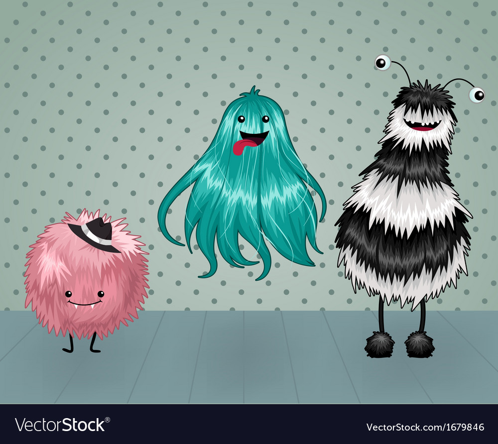 Cute fluffy monsters vector | Price: 1 Credit (USD $1)