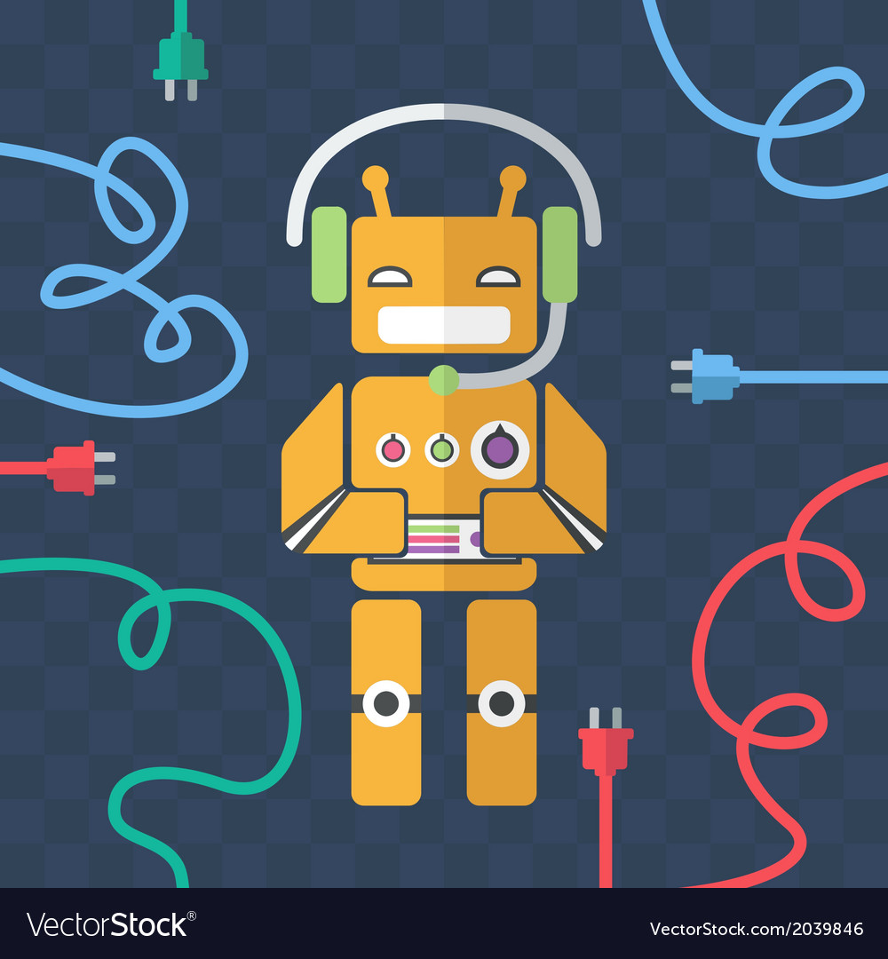 Flat robots vector | Price: 1 Credit (USD $1)