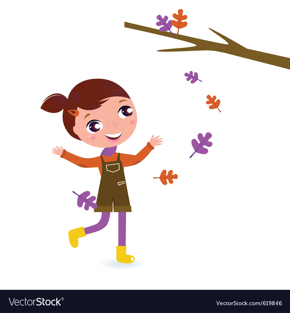Girl playing with leaves vector   Price: 1 Credit (USD $1)