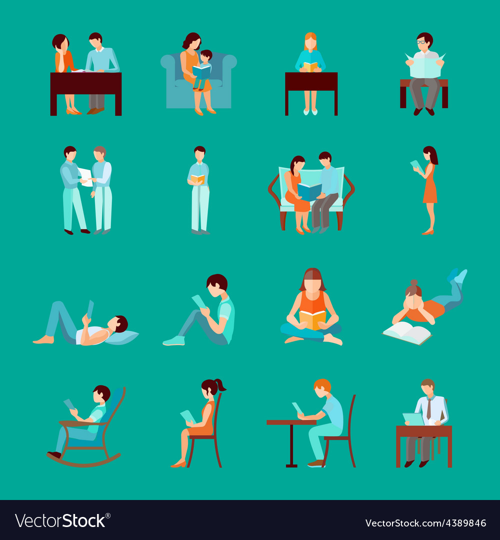 Reading people set vector   Price: 1 Credit (USD $1)