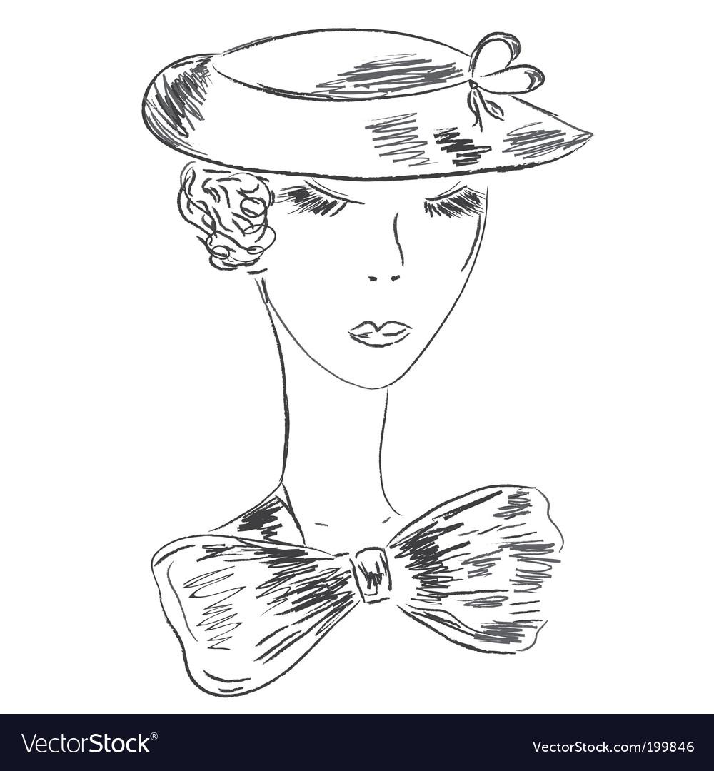 Retro woman sketch vector   Price: 1 Credit (USD $1)