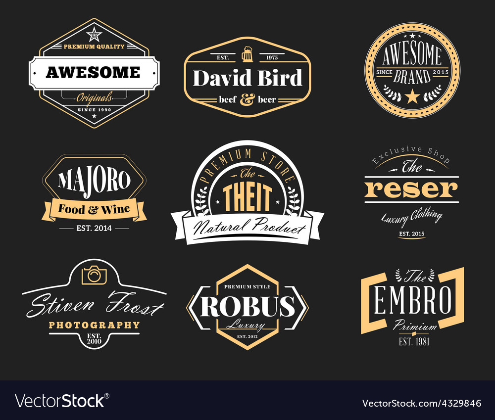 Set of retro vintage badges and logotypes design vector   Price: 1 Credit (USD $1)