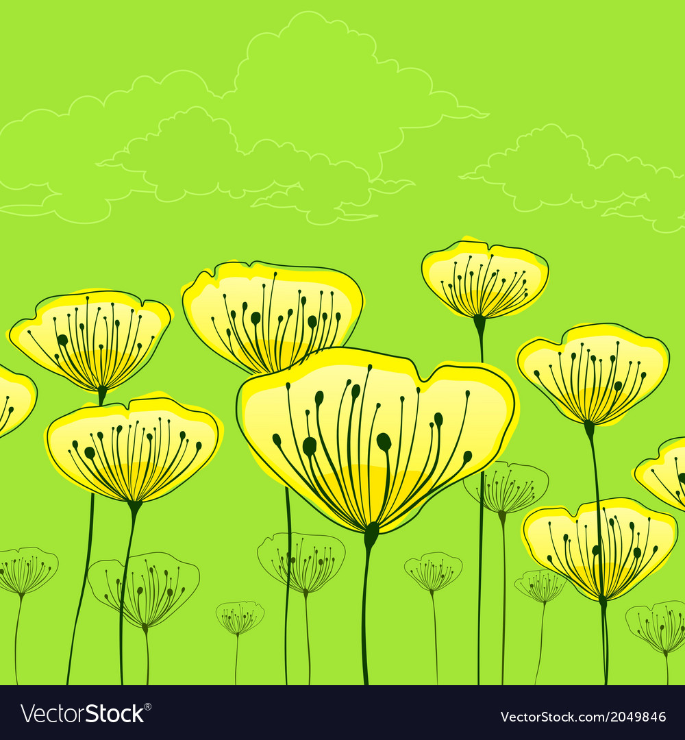 Stylized flowers on green vector | Price: 1 Credit (USD $1)
