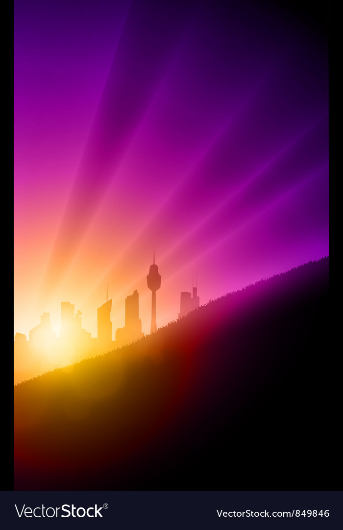 Sunset cityscape vector | Price: 1 Credit (USD $1)