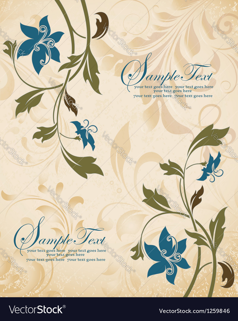 Vintage floral invitation card vector | Price: 1 Credit (USD $1)