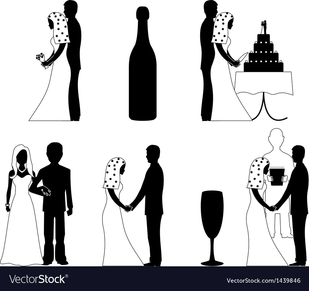 Wedding silhouette set vector | Price: 1 Credit (USD $1)