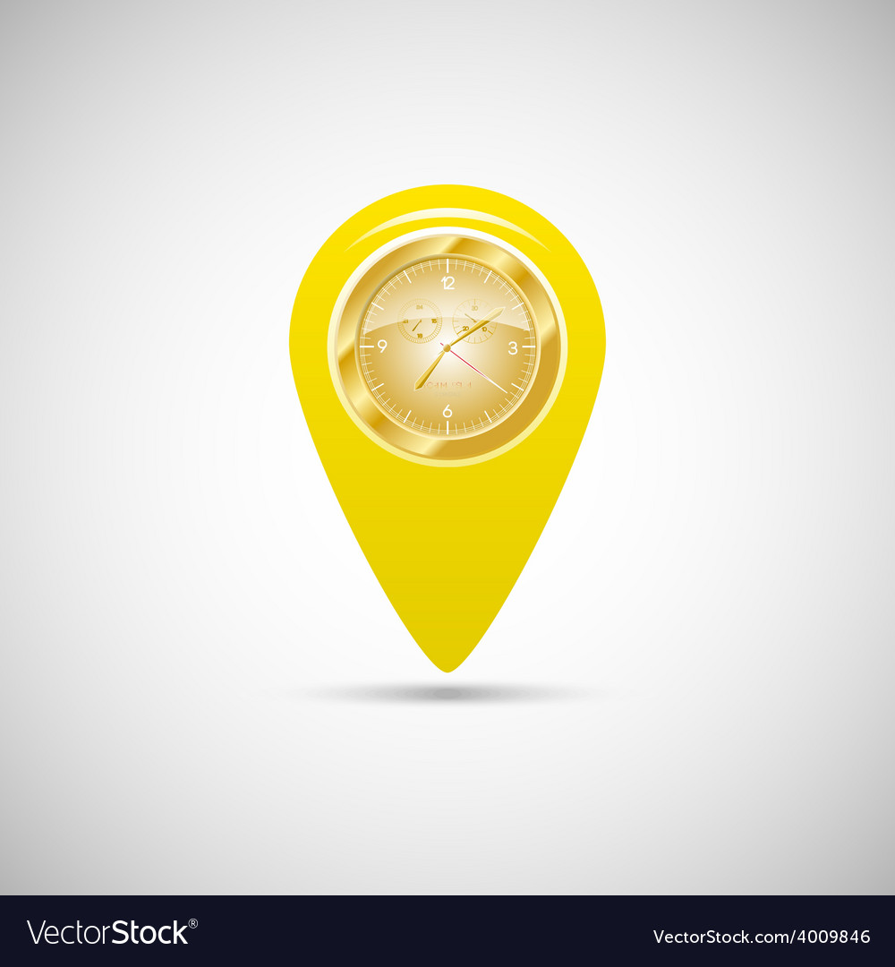 Yellow marker for maps with watch vector | Price: 1 Credit (USD $1)