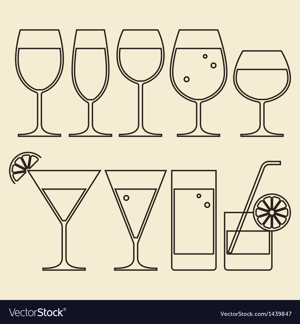 Alcohol wine beer cocktail and water glasses vector | Price: 1 Credit (USD $1)