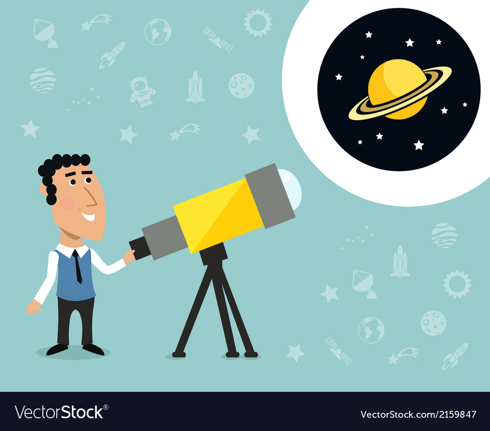 Astronomer with telescope print vector | Price: 1 Credit (USD $1)