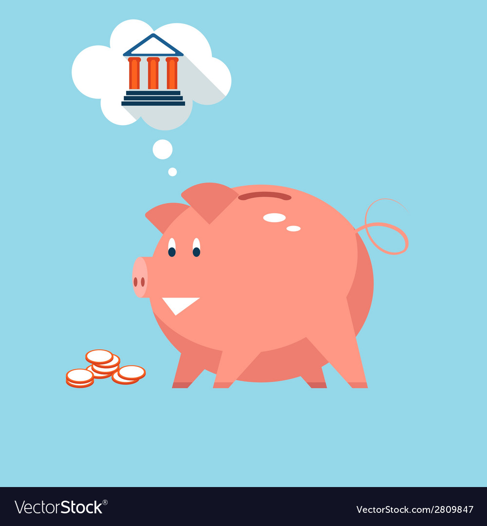 Banking piggy bank money into investments vector | Price: 1 Credit (USD $1)
