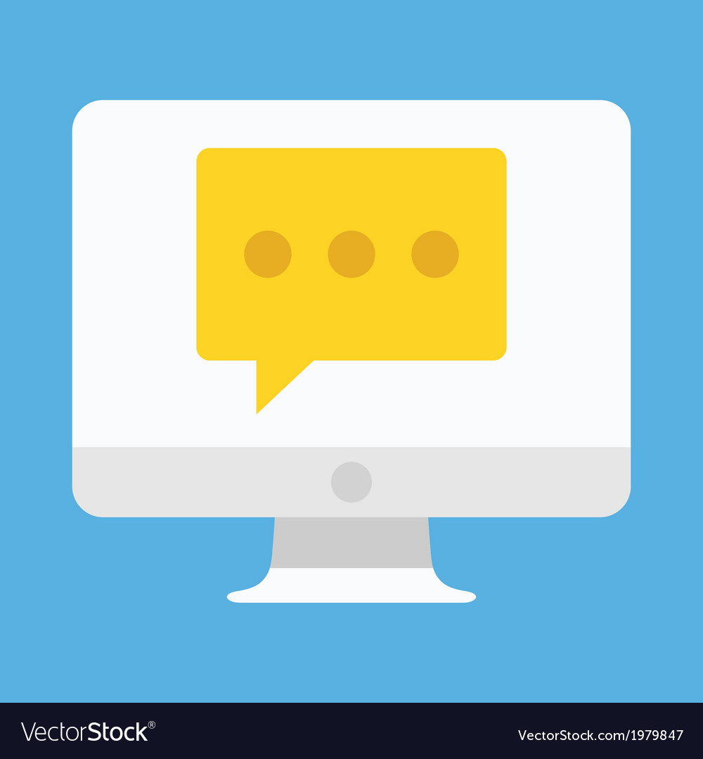 Computer display chat or message icon vector | Price: 1 Credit (USD $1)