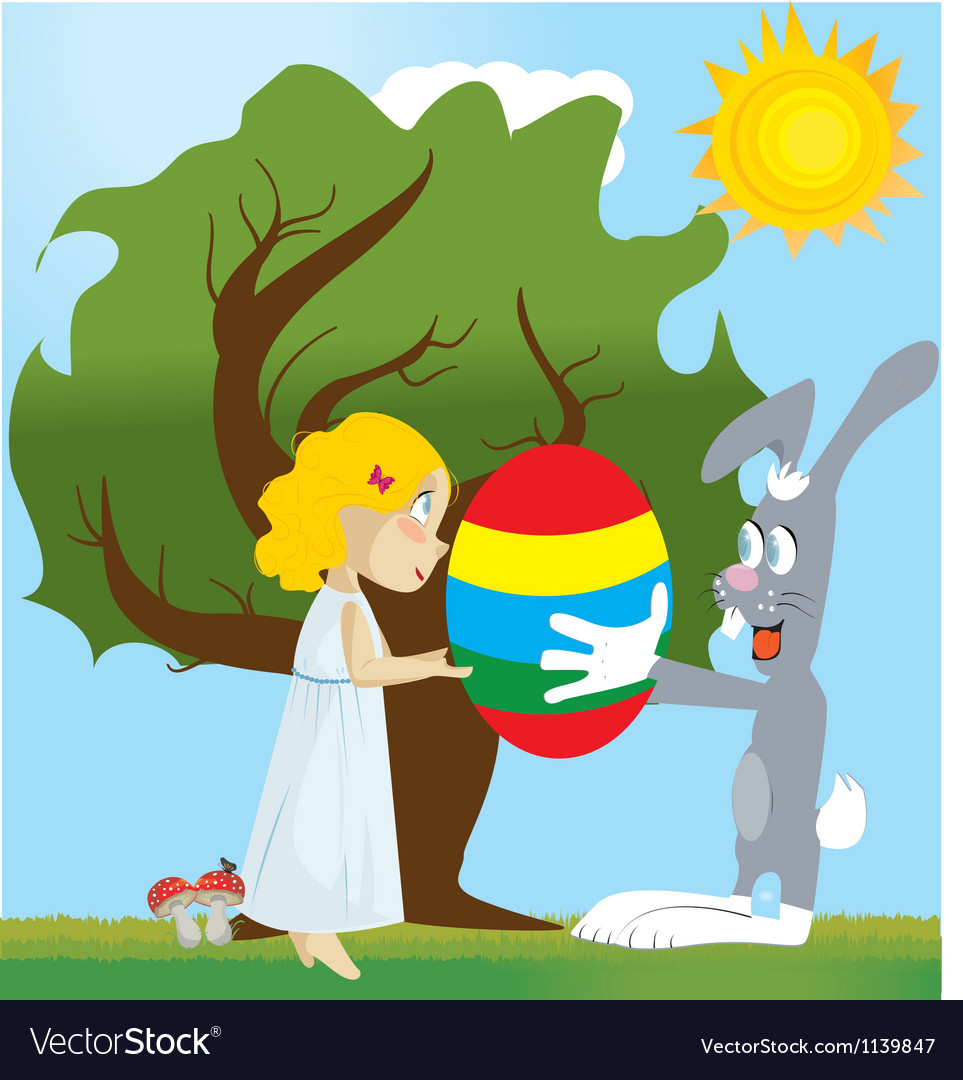 Easter with egg vector | Price: 1 Credit (USD $1)