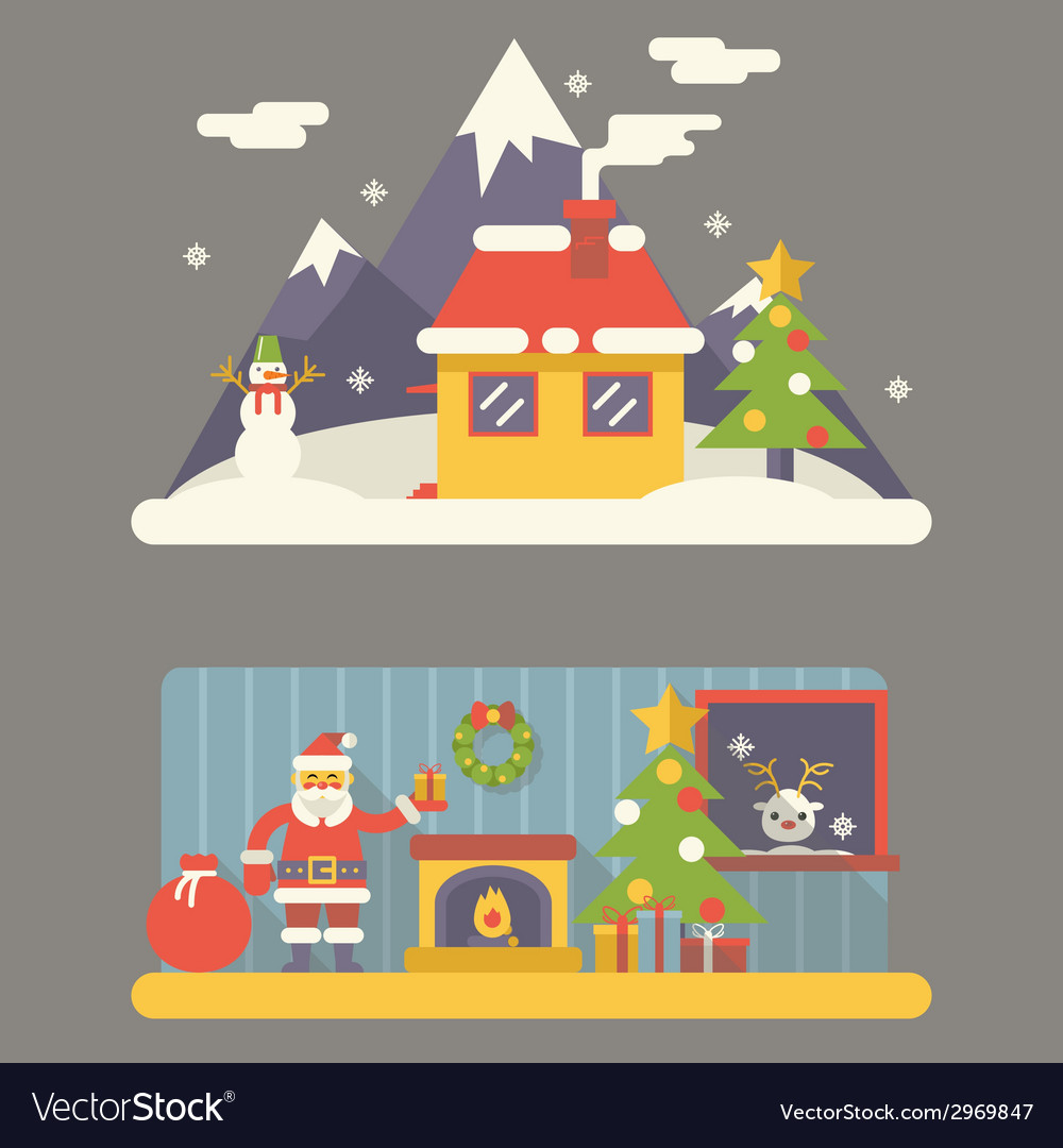 Flat design new year landscape and room situation vector | Price: 1 Credit (USD $1)