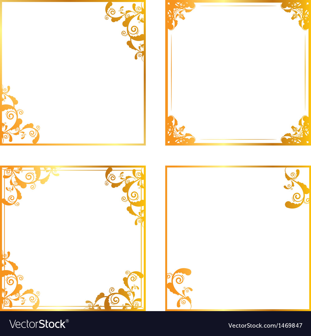 Gold floral frame vector | Price: 1 Credit (USD $1)