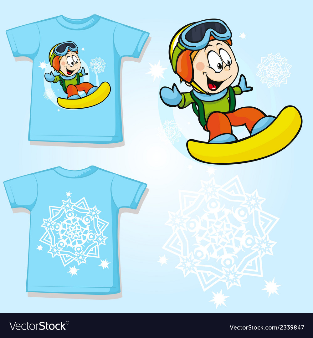 Kid shirt with snowboarder printed - back and vector | Price: 1 Credit (USD $1)