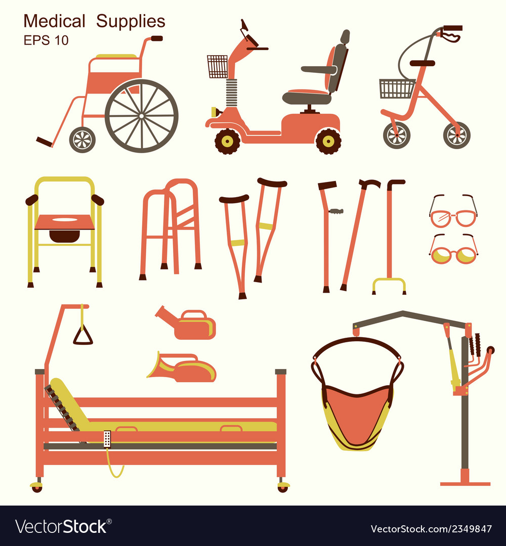 Medical hospital equipment for disabled people vector | Price: 1 Credit (USD $1)